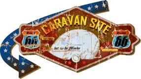 Retro route 66 caravan park sign. Grungy style, vector illustration stock illustration