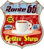 Retro route 66 coffee shop sign Stock Images