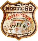 Retro route 66 diner sign,vector eps 10 Royalty Free Stock Photography