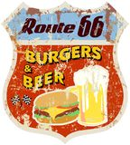 Retro route 66 diner sign,vector eps 10 Stock Images