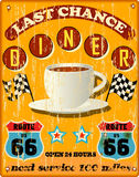Retro route 66 diner sign. Weathered retro route 66 diner sign, vector illustration Stock Images