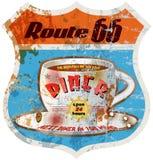 Retro route 66 diner teken Royalty-vrije Stock Foto