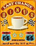 Retro route 66 diner teken Stock Afbeeldingen