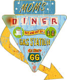 Retro route 66 enamel diner sign, Stock Photo