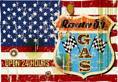 Retro route 66 gas station sign. Grungy retro route sixty six gas station sign, vector illustration Stock Images