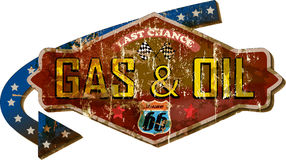 Retro route 66 gas station street sign Royalty Free Stock Images