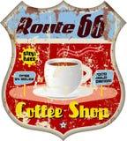 Retro route 66 het teken van de koffiewinkel vector illustratie