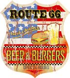 Retro route 66 metal diner sign Royalty Free Stock Images
