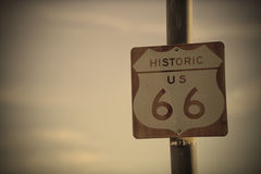 Retro Route 66 Road Sign on the historic US highway Royalty Free Stock Images