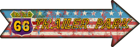 Retro route 66 trailer park sign, grungy style, vector il Stock Photography