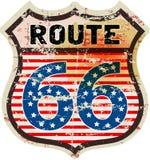 Retro route 66 verkeersteken Royalty-vrije Stock Foto's