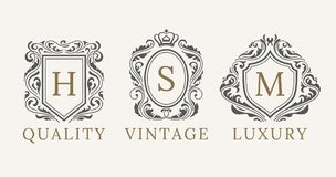 Retro Royal Vintage Shields Logotype set. Vector calligraphyc Luxury logo design elements. Business signs, logos stock illustration
