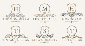 Retro Royal Vintage Shields Logotype set. Vector calligraphyc Luxury logo design elements. Business signs, logos vector illustration