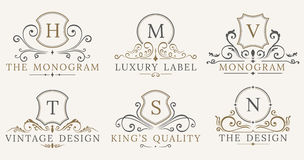Retro Royal Vintage Shields. Vector Luxury logo design elements. Business signs, identity, badges Royalty Free Stock Images