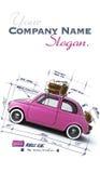 Retro roze autoontwerp Stock Afbeeldingen