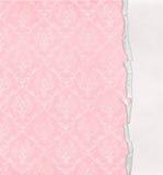 Retro roze damastontwerp met gescheurde rand Royalty-vrije Stock Afbeeldingen