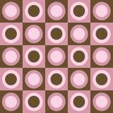 Retro roze en bruine cirkels en vierkantencollage Stock Afbeeldingen