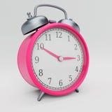 Retro Roze Wekker in een Studiomilieu Royalty-vrije Stock Afbeelding