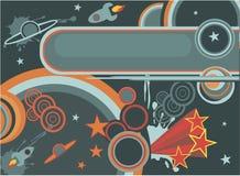 Retro ruimteachtergrond van het beeldverhaal in vector Stock Fotografie