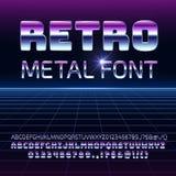 Retro ruimtemetaal vectordoopvont Letters en getallen van het Metallica de de futuristische chroom in de jaren '80 uitstekende st stock illustratie
