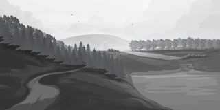 Retro rural landscapes. Set in rural landscapes painted black lines. Vector illustration. For you project Royalty Free Stock Photo