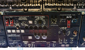 Retro russian helicopter dashboard Stock Photos