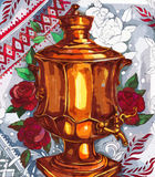 Retro Russian samovar tea. Sketch drawing of Russian brass samovar tea Stock Image