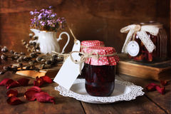Retro rustic homemade jam jar Royalty Free Stock Photography