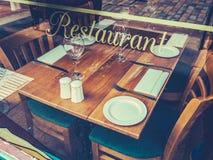Retro Rustic Restaurant Table Stock Photography