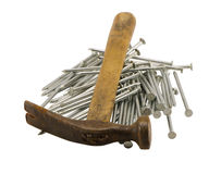 Retro rusty hammer nails pile isolated Royalty Free Stock Photos