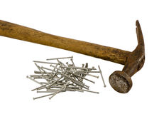 Retro rusty hammer nails pile isolated Royalty Free Stock Photo
