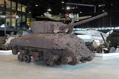 Retro rustic tank with bullet holes in the National Military Museum in Soesterberg, Soest, Netherlands Stock Photo