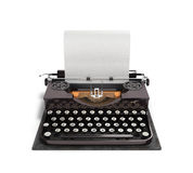 Retro rusty typewriter with paper sheet 3d render isolated on white background royalty free illustration