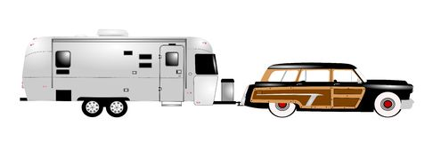 Retro rv with family car. Retro rv with woody station wagon over white Royalty Free Stock Images