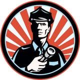 retro säkerhet för ficklampaguardpolis stock illustrationer