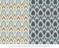 Retro sömlös för färguppsättning för bakgrund 2 Oval Geo för ram för kors för kurva vektor illustrationer