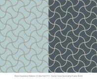 Retro sömlös för färguppsättning för bakgrund 2 ram för geometri för kors för kurva stock illustrationer