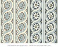 Retro sömlös för färguppsättning för bakgrund 2 spiral F för kors för kurva för runda stock illustrationer