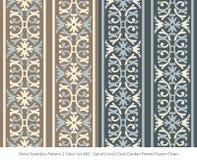 Retro sömlös för färguppsättning för bakgrund 2 trädgård för kors för kurva för spiral stock illustrationer