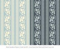 Retro sömlös för färguppsättning för bakgrund 2 växt för vinranka för spiral för kurva Le vektor illustrationer