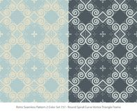 Retro sömlös för färguppsättning för bakgrund 2 virvel för kurva för spiral för runda royaltyfri illustrationer