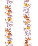 Retro sömlös lättrogen blom- ramremsa Blommor och sidor för tappning gulliga akvarell Royaltyfria Foton