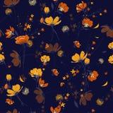 Retro sömlösa blommor för modellvindslag, isolerade onnavy blått Royaltyfri Bild