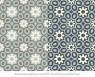 Retro sömlösa för färguppsättning för bakgrund 2 kronblad F för kors för kurva för runda royaltyfri illustrationer