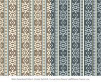 Retro sömlöst för färguppsättning för bakgrund 2 blad Flo för runda för kors för kurva vektor illustrationer