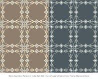 Retro sömlöst för färguppsättning för bakgrund 2 kors F för kontroll för fyrkant för kurva stock illustrationer