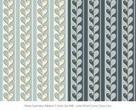 Retro sömlöst för färguppsättning för bakgrund 2 kors Lin för kurva för hjärta för förälskelse stock illustrationer