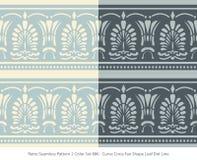 Retro sömlöst för färguppsättning för bakgrund 2 Shape för fan för kors för kurva blad stock illustrationer