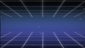Retro 80s Background Animation Loops Featuring Blue Neon Grids and Lines.  stock illustration