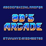 Retro 80s computer game alphabet font. Digital pixel gradient letters and numbers. Arcade video game typeface Stock Illustration